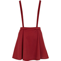 River Island Womens Dark red textured dungaree skater skirt