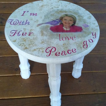 Rustic Hillary Clinton End table, Side Table Stool, 3 legs Side Table, Bohemian, Hillary Clinton table, Round table, Round End, I'm with her