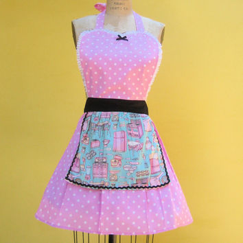 Retro apron with Vintage Kitchen print with pink Polka dots flirty womens full aprons