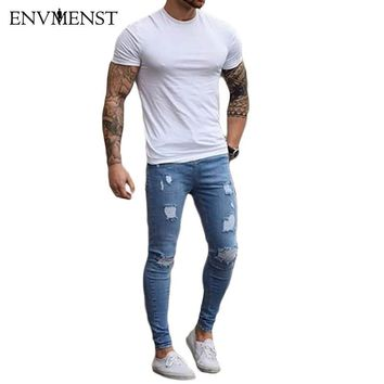 2017 Blue ripped Jeans for Men Super Stretch Male Pants Distressed Envmenst Brand Designer men Jeans skinny fit Style Streetwear