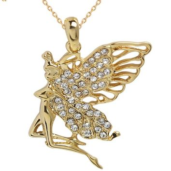 Big large Crystal Angel fairy Pendant Chain Necklace chocker jewellery