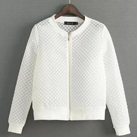 White Grid Embroidered Zip Up Varsity Jacket