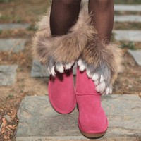 Tagre™ UGG Women Fashion Fur Leather Winter Snow Boots In Tube Boots Shoes