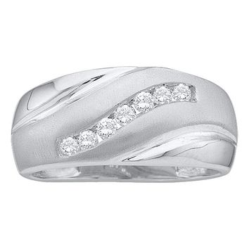 14kt White Gold Men's Round Diamond Single Row Brushed Wedding Band Ring 1/4 Cttw - FREE Shipping (US/CAN)