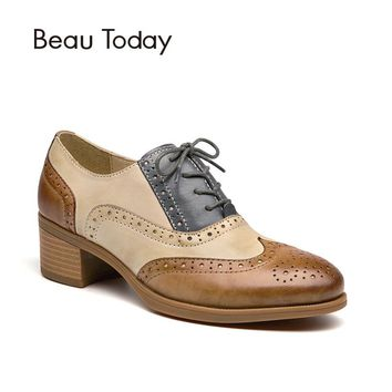 BeauToday Oxfords Women Shoes Genuine Leather Wingtip Lace-Up Round Toe Mixed Colors Sheepskin Brogue Shoes Chunky Heel 15116