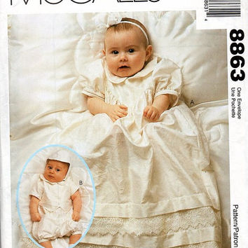 Infant Christening Gown Romper Hat McCall's 8863 Sewing Pattern Baby Boy Girl Dress Baptism Newborn 12 to 20 lbs