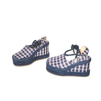 size 7.5 platform ESPADRILLES wedges vintage early 90s Aldo unique PLAID woven lace up thick WEDGE platform espadrille