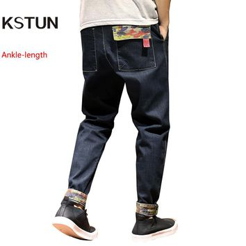 KSTUN men harem pants baggy slacks loose dark blue stretch camouflage cuff jogger denim pants hiphop haren trousers plus size 40
