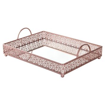 Large Rectangular Metal Mirror-Top Serving Tray (Rose Gold)