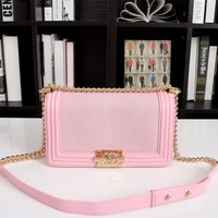 HCXX 19June 668 Pearl Pellet Metal Chain Belt Shoulder Bag Flip Handbag Gold pink