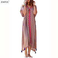 Women Vintage Ethnic Geometric Embroidered Loose Cotton High Split Tassel Turkey Tunic Hippie Boho People Long Dress