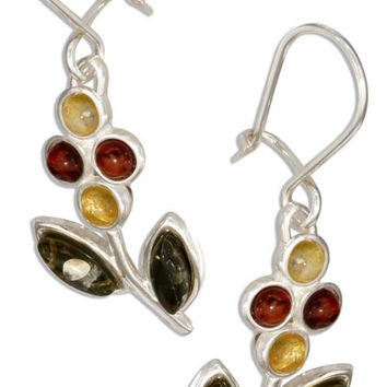 STERLING SILVER MULTICOLOR BALTIC AMBER FLOWER EARRINGS