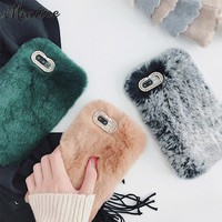 New Winter Rabbit Fur Phone Case For iPhone X 6 7 7plus 6s 6plus 6splus Fluffy fundas For iphone 8 8plus covers