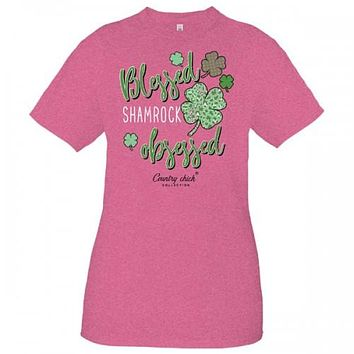 Country Chick By Simply Southern Blessed Shamrock Obsessed St. Patrick's Day T-Shirt