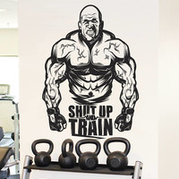 "Gym Motivational Wall Decal, ""Shut Up and Train"" Sticker, Home Gym Bodybuilding Wall Decor, Muscle Training CrossFit Decor Mural Art se157"