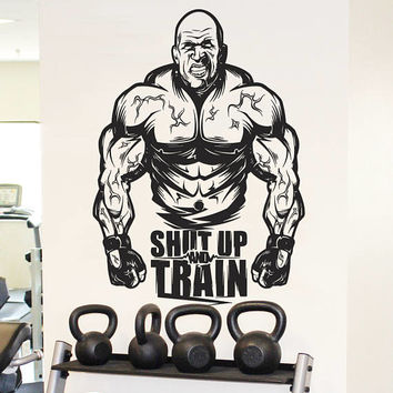 """Gym Motivational Wall Decal, """"Shut Up and Train"""" Sticker, Home Gym Bodybuilding Wall Decor, Muscle Training CrossFit Decor Mural Art se157"""