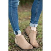 Should I Stay Taupe Ankle Boots