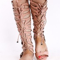 BLUSH BUTTERFLY CUT OUT LACE UP OPEN TOE GLADIATOR SANDALS