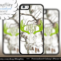 Apple Green Antlers Monogram iPhone 5C 6 Plus Case Browning iPhone 5s iPhone 4 case Ipod White Camo Deer Personalized Country Inspired Girl