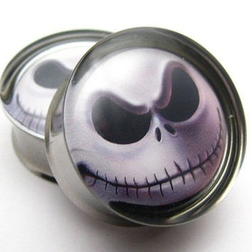 Jack Skellington Nightmare Before Christmas Plugs 2g, 0g, 00g, 7/16, 1/2, 9/16, 5/8, 3/4, 7/8, 1 inch