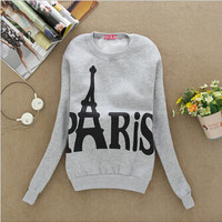 Wear Long Sleeved Slim Sweatshirts Printed Paris Pullover Sweatshirts College Student Clothing Fall Women's SM6