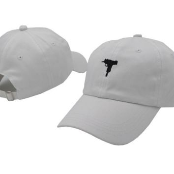 White UZI Gun Embroidered Adjustable Cotton Baseball Cap Hat