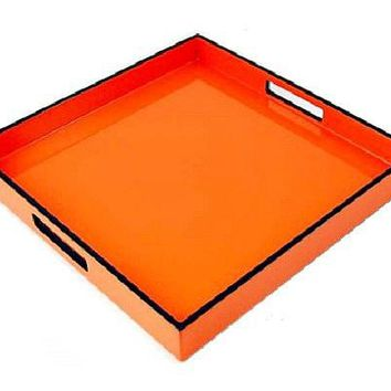 Orange and Black Lacquer Serving Tray