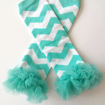 Baby Girl Chevron Stripe Baby Leg Warmers Aqua Blue Chevron with Chiffon Ruffles  Birthday Party Photo Prop