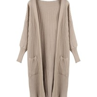 Pocket-Front Knit Long Cardigan