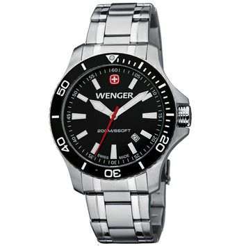 Wenger 0641.105 Men's Sea Force White Accents Black Dial Stainless Steel Watch