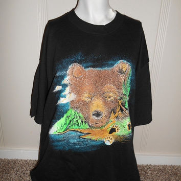 Spring Vintage SALE Vintage 90's 1993  shirt tee t shirt     BEAR    browns    black       USA made   mens womens unisex clothing clothes