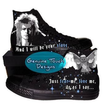 ICIKHD9 Hand Painted Converse Black/black. Fanart Labyrinth. Jareth. Custom handpainted shoes