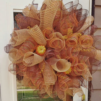 Beautiful Handmade Autumn Deco Mesh Wreath ~ Fall Home Decorations ~ Door Wall Hanging, Thanksgiving, Housewarming, Teacher, Birthday Gift