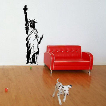 STATUE OF LIBERTY NY USA AMERICAN PRIDE WALL VINYL STICKER DECAL MURAL ART T406