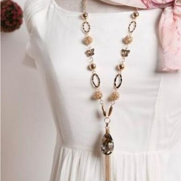 Large Crystal Pendant flower Tassel Long Chain Necklace