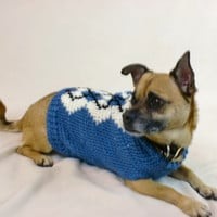 Blue Argyle Dog Sweater - Medium Dog Shirt - Chihuahua Pug Clothes - Knit Diamonds - Male Sweater