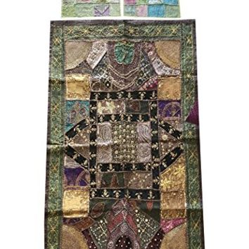 Mogul Interior Green Bohemian Vintage Patchwork Tapestry With Decorative Cushion Cover Banjara Sequin work Wall Hanging Throw