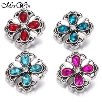 10pcs/lot Ginger Crystal Flower Snap Buttons Jewelry Rhinestone 18MM Snap Vintage Alloy Buttons fit Snap Bracelet S666