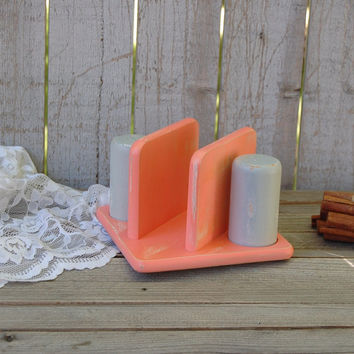Coral and grey salt, pepper and napkin holder