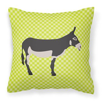 American Mammoth Jack Donkey Green Fabric Decorative Pillow BB7670PW1414