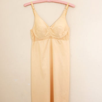 Vintage Shapewear / Full Slip with Support Bra - Size Small