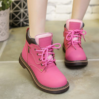 On Sale Casual Hot Sale Hot Deal Climbing Comfort Leather Dr. Martens Winter Flat Boots Pink Hiking Shoes [8865737036]