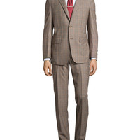 Men's Two-Piece Plaid Suit, Gray, Regular Length - Ike Behar - Grey plaid (46R)