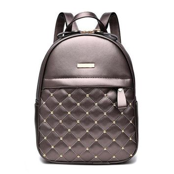 Women PU Leather Fancy Quilted Rivets Fashion Backpacks