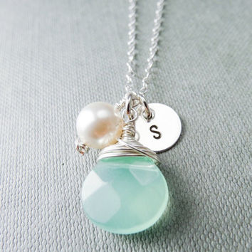 Initial necklace Sterling Silver, Swarovski Pearl, green cut glass Briolette, cutomised stamped necklace, monogram letter necklace