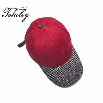 Trendy Winter Jacket 2017 Autumn winter unisex solid curved hats Stitching baseball cap men women Suede snapback caps AT_92_12