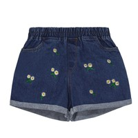 Floral Embroidery Print Denim Shorts with Elastic Waist