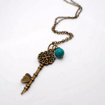 Natural Turquoise Necklace Antique Key Necklace Pearl Necklace, Children Necklac