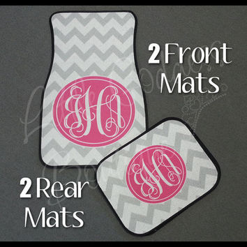 Custom Personalized Set of Car Floor Mats - Front and or Rear Back, Monogrammed Car Mats, Chevron Gray & Shocking Pink