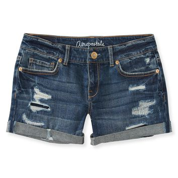 Aeropostale Womens Medium Wash Destroyed Slim Fit Midi Shorts - Blue